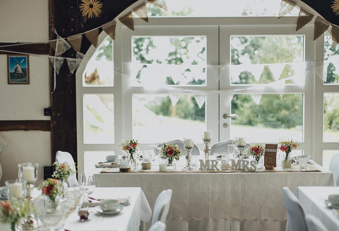 Hochzeitsdekoration vom Hochzeitsglück an der Exter-Mühle in Vlothof in der Nähe von Minden