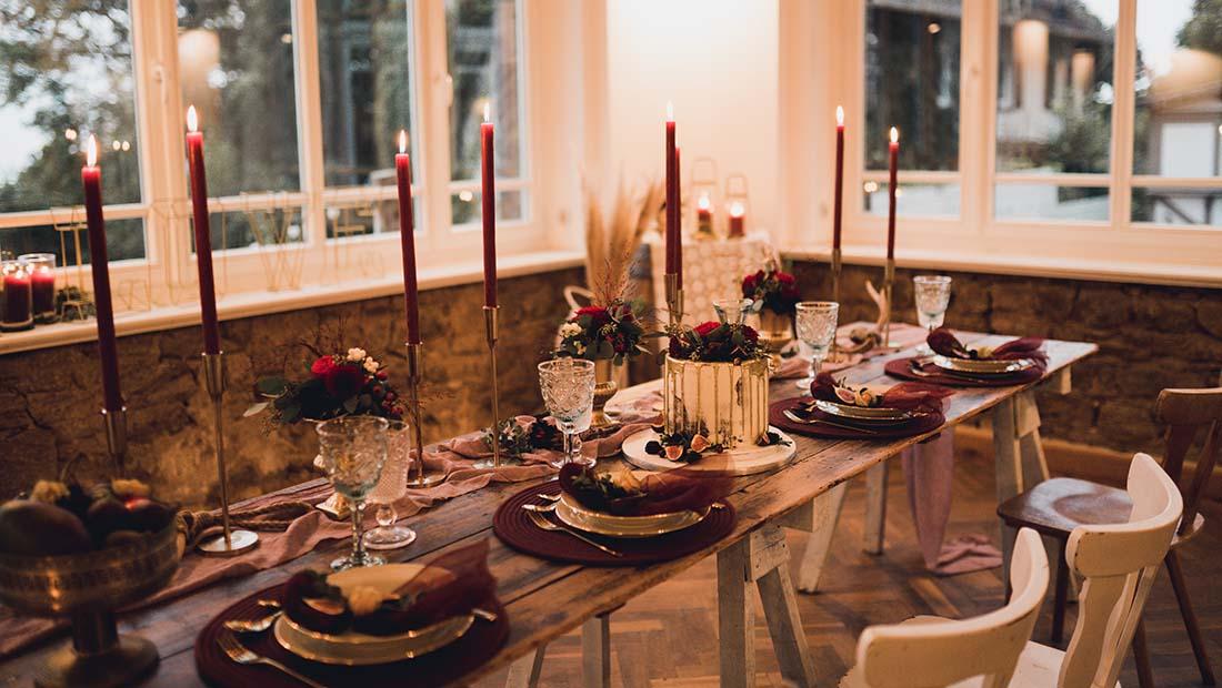 Hochzeit Tischdeko Bordeaux Hochzeitsglück Petershagen Minden Bad-Oeynhausen
