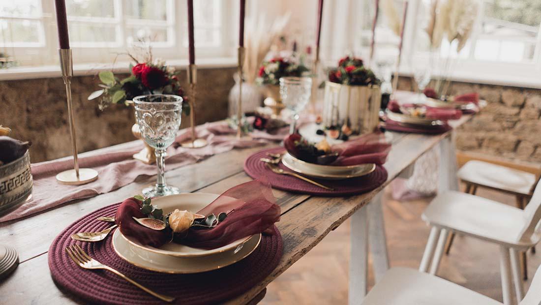 Hochzeit Tischdeko Lila Hochzeitsglück Petershagen Minden Bad-Oeynhausen