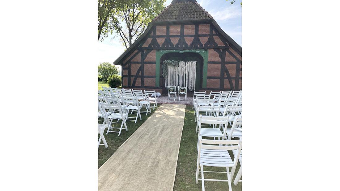 Juteläufer Spalier Stangen Freie-Trauung Hochzeit Petershagen Minden Hochzeitsglück
