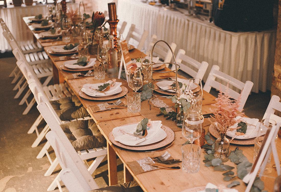 Tischdekoration vom Hochzeitsglück aus Minden im Fort A in Minden